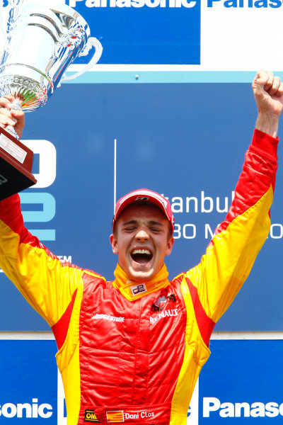 Round 3 Istanbul Park, Istanbul Turkey 30th May. Sunday Race.Dani Clos (ESP, Racing Engineering) celebrates his victory on the podium. Photo: Glenn Dunbar/GP2 Media Service.Ref: _G7C4925 jpg