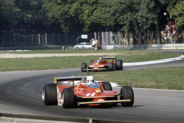 Jody Scheckter, Ferrari 312T4 leads teammate Gilles Villeneuve, Ferrari 312T4B.