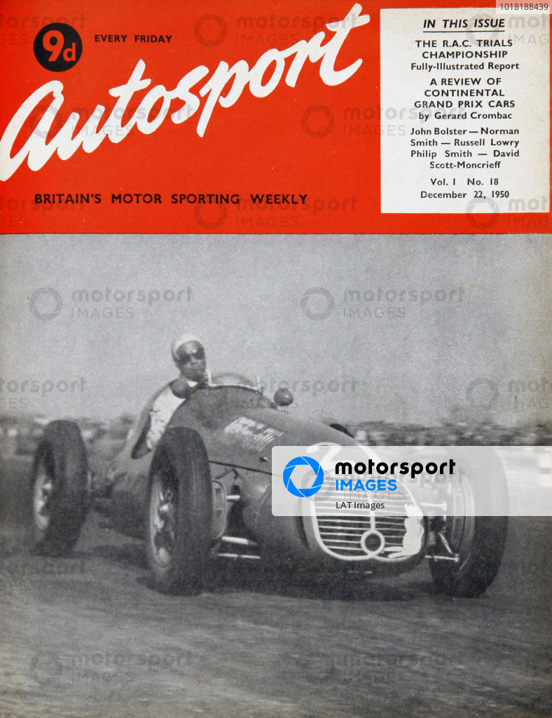 Cover of Autosport magazine, 22nd December 1950. Main Picture: The Siamese driver Prince Birabongse Bhanudej Bhanubandh of Siam, carries a white mouse symbol on the radiator grill on his Maserati 4CLT/48 at the San Remo Grand Prix.
