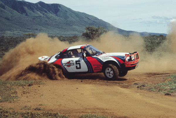 2003 Racing Past. . Exhibition1978 Safari Rally, Kenya. Bjorn Waldegaard sideways in the Porsche 911.World Copyright - LAT PhotographicExhibition ref: a006