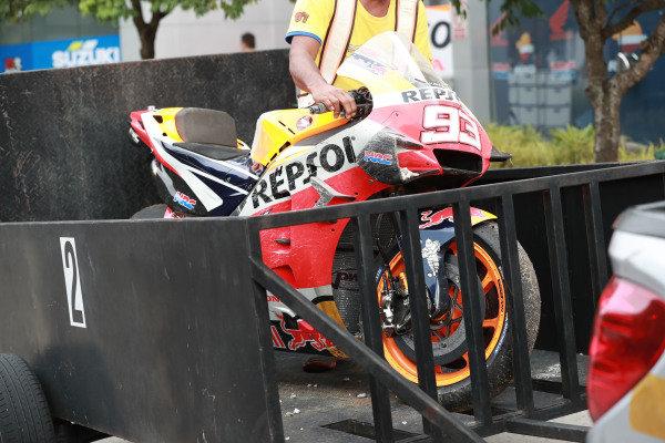 Marc Marquez, Repsol Honda Team's crashed Honda.