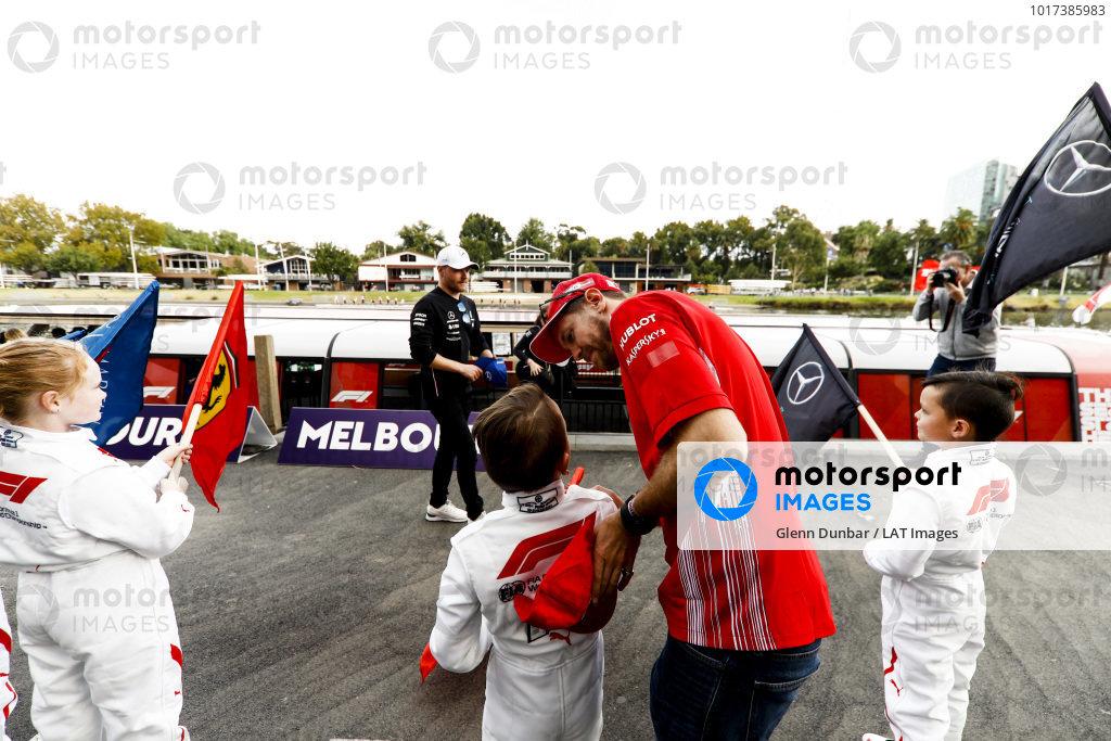 Sebastian Vettel, Ferrari with fans at the Federation Square event