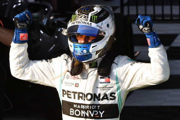 Valtteri Bottas, Mercedes AMG F1, 1st position, celebrates on arrival in Parc Ferme