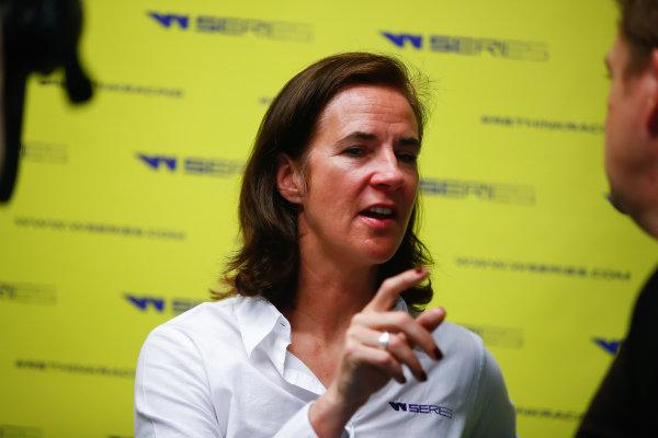 Catherine Bond Muir, CEO, talks to the press