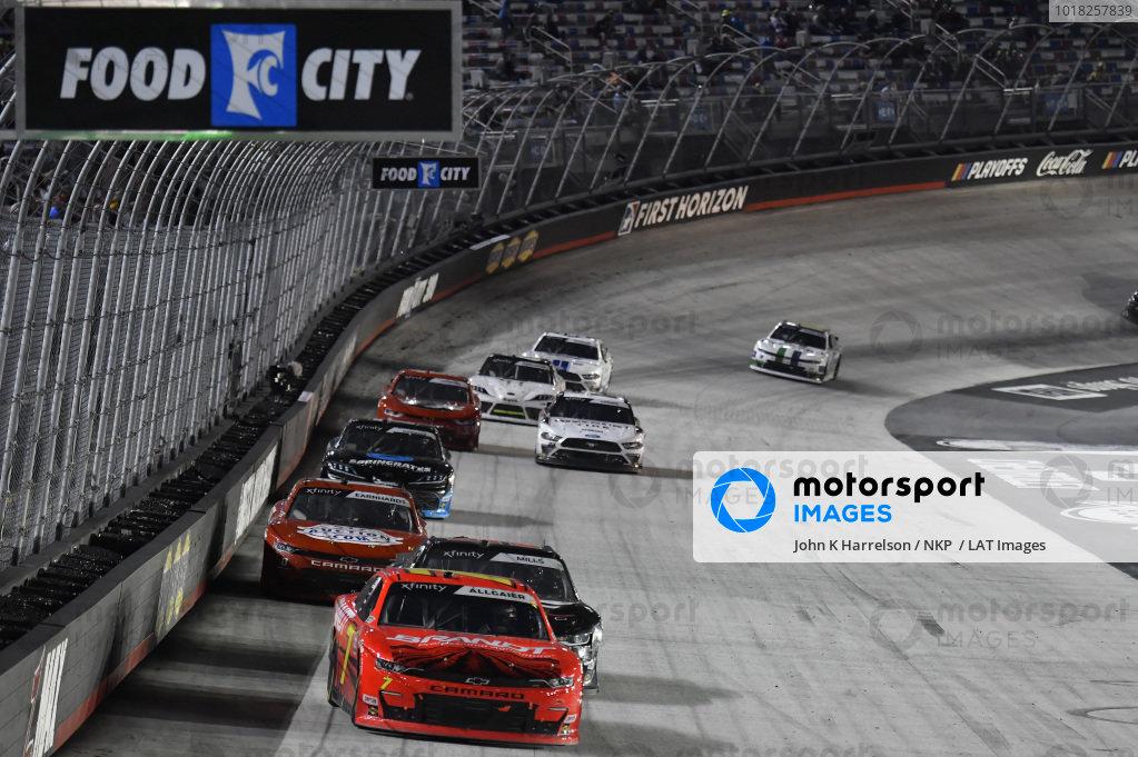 #7: Justin Allgaier, JR Motorsports, Chevrolet Camaro BRANDT, #5: Matt Mills, B.J. McLeod Motorsports, Chevrolet Camaro J.F. Electric