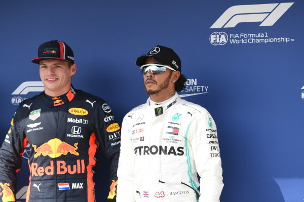 Pole Sitter Max Verstappen, Red Bull Racing and Lewis Hamilton, Mercedes AMG F1 in Parc Ferme