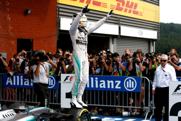 Spa-Francorchamps, Spa, Belgium. Sunday 23 August 2015. Lewis Hamilton, Mercedes AMG, 1st Position, celebrates victory in Parc Ferme. World Copyright: Glenn Dunbar/LAT Photographic ref: Digital Image _89P4851