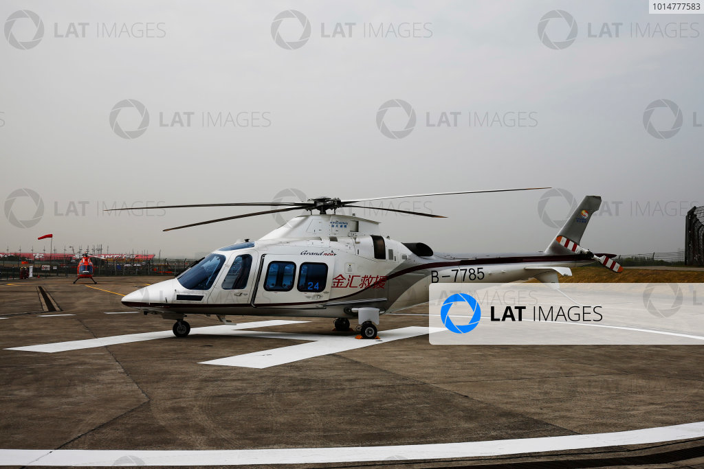 Shanghai International Circuit, Shanghai, China.  Saturday 08 April 2017. The Augusta-Westland AW109SP Medical Helicopter at the centre of the lack of on-track activity on Friday. World Copyright: Andy Hone/LAT Images ref: Digital Image _ONZ5088