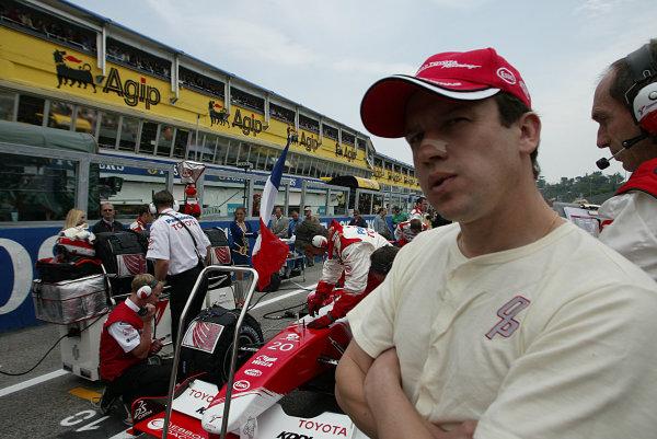 2003 San Marino Grand Prix - Sunday Race,Imola, Italy.20th April 2003.Olivier Panis, Toyota TF103, on the grid.World Copyright LAT Photographic.ref: Digital Image Only.