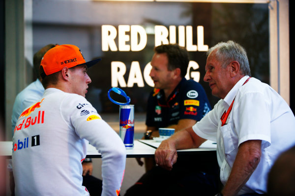 Sepang International Circuit, Sepang, Malaysia. Saturday 30 September 2017. Max Verstappen, Red Bull, with Helmut Markko, Consultant, Red Bull Racing. World Copyright: Andy Hone/LAT Images  ref: Digital Image _ONZ9807