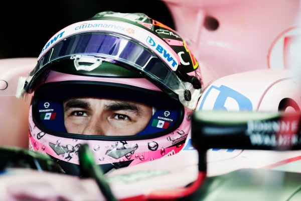 Sepang International Circuit, Sepang, Malaysia. Saturday 30 September 2017. Sergio Perez, Force India, in cockpit with helmet visor raised. World Copyright: Zak Mauger/LAT Images  ref: Digital Image _56I0425
