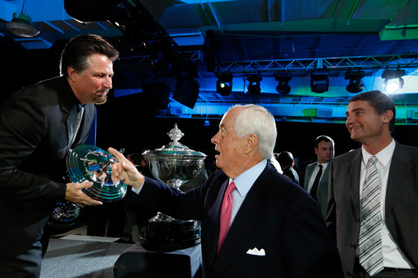 6 December, 2012, Indianapolis, Indiana, USA Michael Andretti is congratulated by Roger Penske and Tim Cindric.(c) 2012, Michael L. Levitt LAT Photo USA