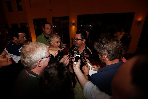 Yas Marina Circuit, Abu Dhabi, United Arab Emirates Sunday 4th November 2012. Eric Boullier, Team Principal, Lotus F1, answers questions regarding his teams win. World Copyright: Andrew Ferraro/  ref: Digital Image _79P4024