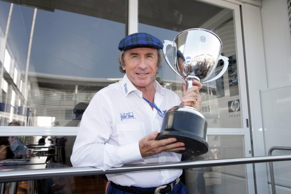 2005 Italian Grand Prix - Sunday Race,Monza, Italy. 4th September 2005 Jackie Stewart with the trophy from his first Grand Prix win. World Copyright: Michael Cooper/LAT Photographic  ref: 48mb Hi Res Digital Image