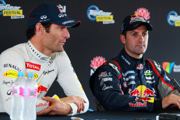 (L to R): Mark Webber (AUS) Red Bull Racing and Mark Webber (AUS) Red Bull Racing, Casey Stoner (AUS) and Jamie Whincup (AUS). Top Gear Festival, Sydney Motorsport Park, Sydney, Australia, 9-10 March 2013.