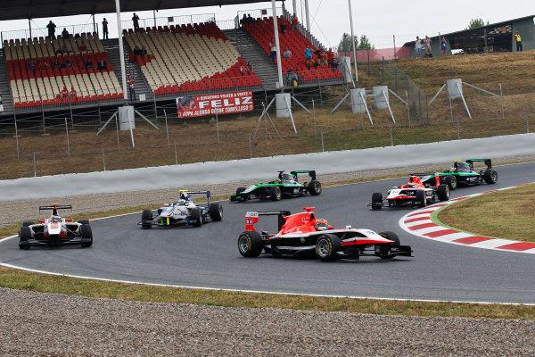 2014 GP3 Series Round 1 - Race 2. Circuit de Catalunya, Barcelona, Spain. Sunday 11 May 2014. Dean Stoneman (GBR, Marussia Manor Racing), leads Dino Zamparelli (GBR, ART Grand Prix) & Jimmy Eriksson (SWE, Koiranen GP)  Photo: Sam Bloxham/GP3 Series Media Service. ref: Digital Image _G7C7521