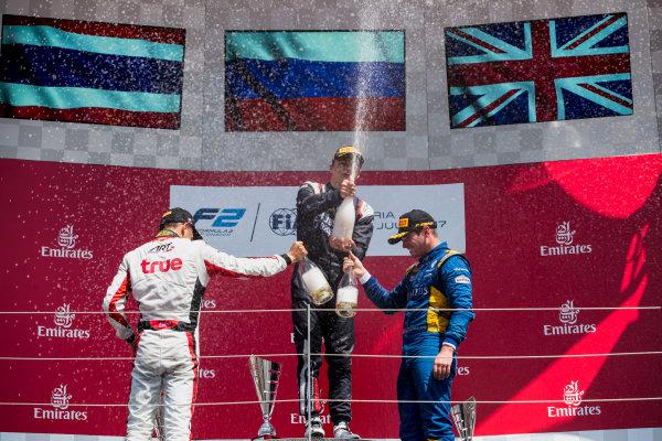 2017 FIA Formula 2 Round 5. Red Bull Ring, Spielberg, Austria. Sunday 9 July 2017. Alexander Albon (THA, ART Grand Prix), Artem Markelov (RUS, RUSSIAN TIME) and Oliver Rowland (GBR, DAMS).  Photo: Zak Mauger/FIA Formula 2. ref: Digital Image _54I0412