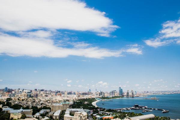 Baku City Circuit, Baku, Azerbaijan. Wednesday 21 June 2017. A view of the city from Dagustu (Upland) Park. World Copyright: Zak Mauger/LAT Images ref: Digital Image _56I5970