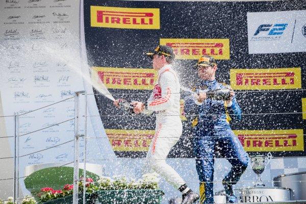 2017 FIA Formula 2 Round 7. Hungaroring, Budapest, Hungary. Sunday 30 July 2017. Oliver Rowland (GBR, DAMS), Nobuharu Matsushita (JPN, ART Grand Prix), Nyck De Vries (NED, Rapax).  Photo: Zak Mauger/FIA Formula 2. ref: Digital Image _54I4978