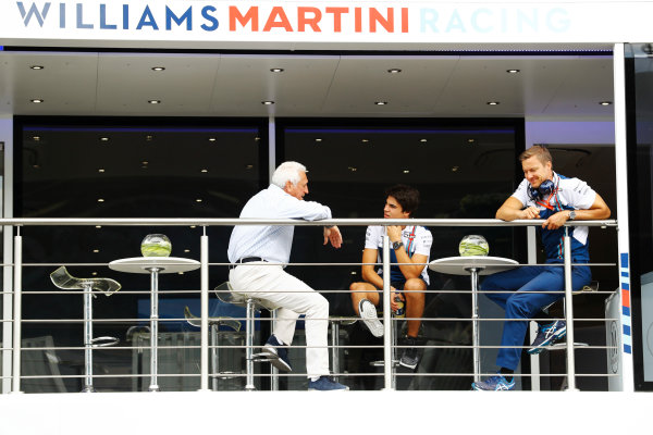 Red Bull Ring, Spielberg, Austria. Saturday 08 July 2017. Lance Stroll, Williams Martini Racing, talks to his father Lawrence in the hosiptality unit. World Copyright: Steven Tee/LAT Images ref: Digital Image _O3I6429