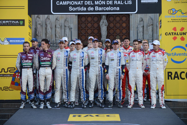 The drivers pose at the start in Barcelona. FIA World Rally Championship, Rd12, Rally de Espana, Catalunya, Costa Daurada, Spain. Day One, Friday 25 October 2013.