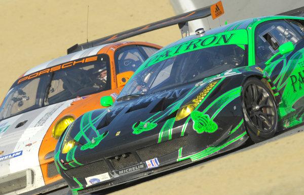 16-18 September, 2011, Monterey, California USA#02 Extreme Speed Motorsports Ferrari F458 Italia with #911 Porsche.(c)2011,  Dan R. Boyd  LAT Photo USA