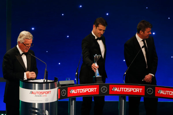 2015 Autosport Awards. Grosvenor House Hotel, Park Lane, London. Sunday 6 December 2015. Rally Car of the Year, Volkswagen Polo R WRC, Jost Capito and Francois-Xavier Demaison. World Copyright: Sam Bloxham/LAT Photographic. ref: Digital Image _SBL4720