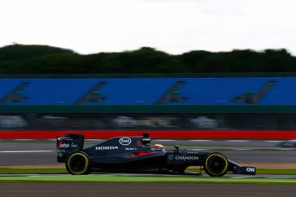 Silverstone, Northamptonshire, UK. Wednesday 13 July 2016. Stoffel Vandoorne, McLaren MP4-30 Honda.  World Copyright: Zak Mauger/LAT Photographic ref: Digital Image _L0U8455