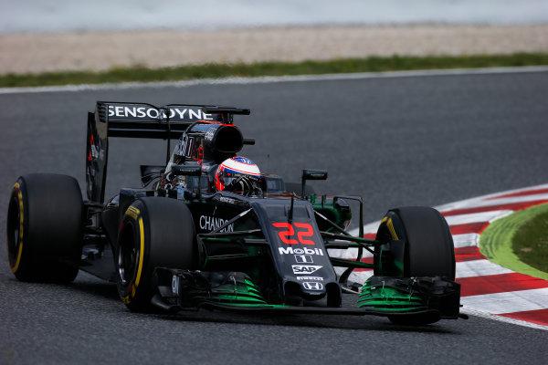 Circuit de Catalunya, Barcelona, Spain. Tuesday 17 May 2016. Jenson Button, McLaren MP4-31 Honda.  Photo: Sam Bloxham/LAT Photographic. ref: Digital Image _L4R2125