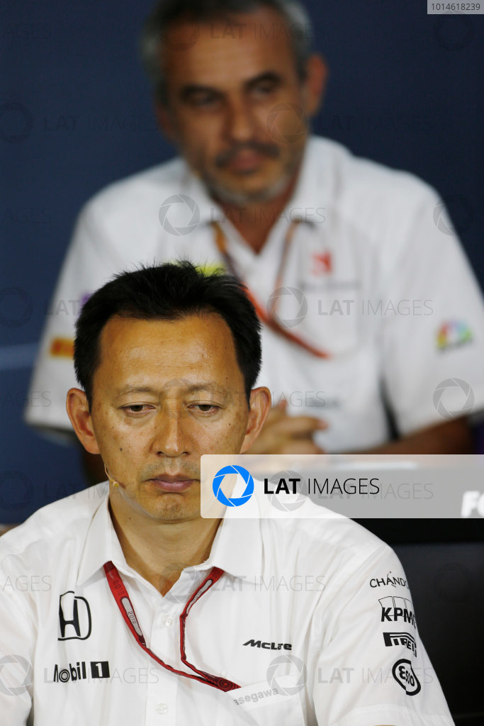 Red Bull Ring, Spielberg, Austria. Friday 01 July 2016. Yusuke Hasegawa, Senior Managing Officer, Honda, in the team principals Press Conference. World Copyright: Andy Hone/LAT Photographic ref: Digital Image _ONZ5178