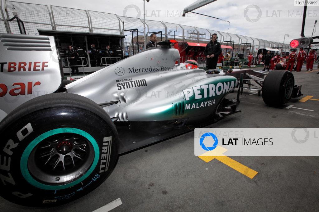 Albert Park, Melbourne, Australia25th March 2011.Michael Schumacher, Mercedes GP W02, in the pit lane. Action. World Copyright: Andrew Ferraro/LAT Photographicref: Digital Image