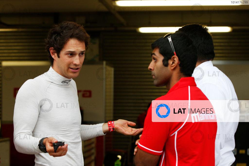 FIA Formula E Test Day Donington Park, UK.  3rd - 4th July 2014.  Bruno Senna and Karun Chandok, Mahindra Racing. Photo: Zak Mauger/FIA Formula E ref: Digital Image _L0U5241