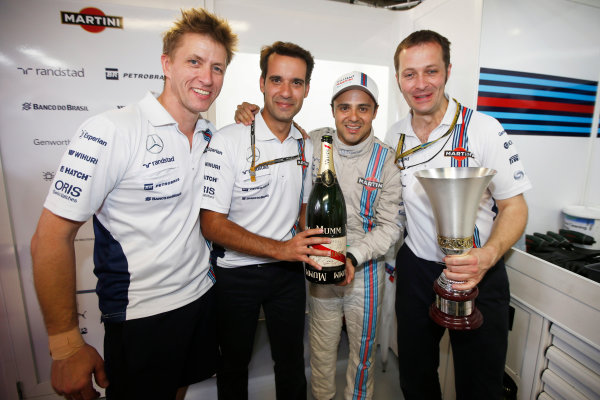 Autodromo Nazionale di Monza, Monza, Italy. Sunday 7 September 2014. Felipe Massa, Williams F1, 3rd Position, celebrates a podium finish with team mates. World Copyright: Glenn Dunbar/LAT Photographic. ref: Digital Image _W2Q0746