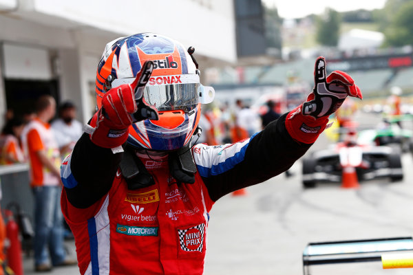 Round 5 - Hungaroring, Hungary  2014 GP3 Series Round 5. Hungaroring, Budapest, Hungary. Sunday 27 July 2014 Patric Niederhauser (SUI, Arden International) celebrates his win in Parc Ferme. Photo: Sam Bloxham/GP3 Series Media Service.  ref: Digital Image _SBL8701