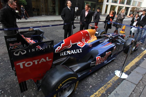 Grand Connaught Rooms, London, England. 3rd December 2012. A Red Bull Racing car outside the entrance. World Copyright: Jakob Ebrey/LAT Photographic ref: Digital Image RedBull_011