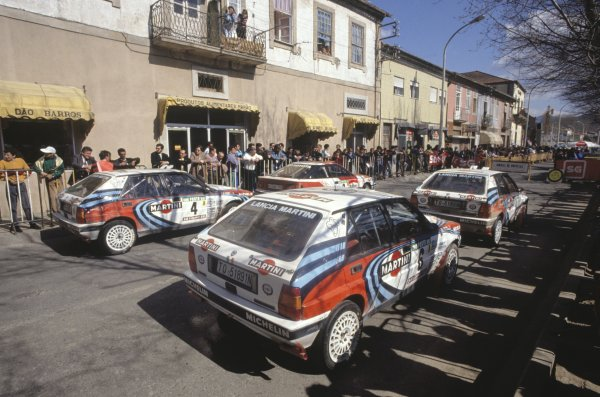 1990 World Rally Championship.Portuguese Rally, Portugal. 6-10 March 1990.Parc ferme for the works Lancia Delta Integrale 16V team, atmosphere.World Copyright: LAT PhotographicRef: 35mm transparency.