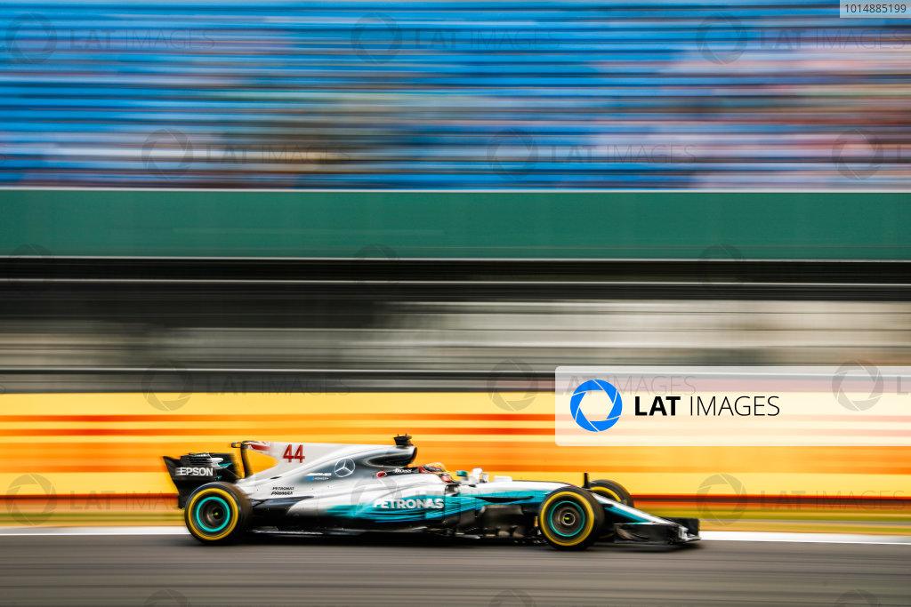 Silverstone, Northamptonshire, UK.  Friday 14 July 2017. Lewis Hamilton, Mercedes F1 W08 EQ Power+. World Copyright: Glenn Dunbar/LAT Images  ref: Digital Image _31I3427