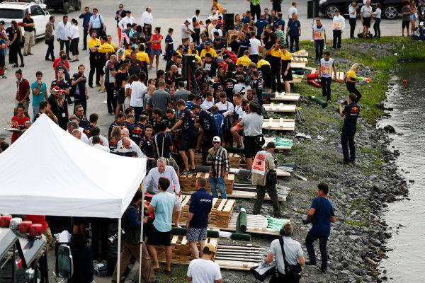 Circuit Gilles Villeneuve, Montreal, Canada. Saturday 10 June 2017. Raft race preparations. World Copyright: Glenn Dunbar/LAT Images ref: Digital Image _31I6266