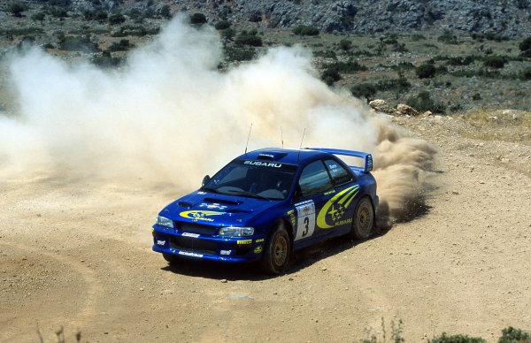 Richard Burns in action in the Subaru Impreza P2000.Acropolis Rally June, 2000.Photo: McKlein/LAT.