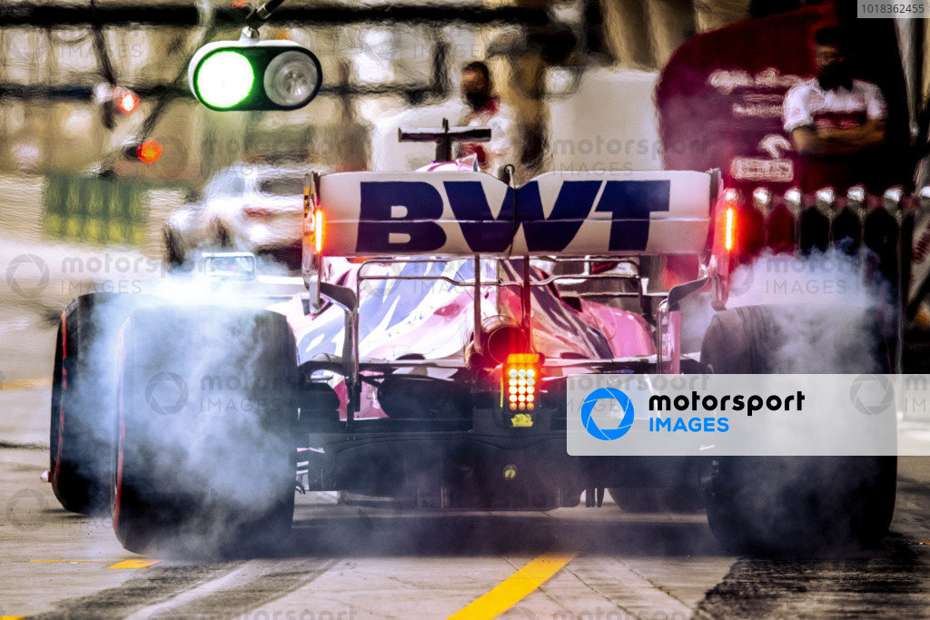 Sergio Perez, Racing Point RP20, leaves the pits