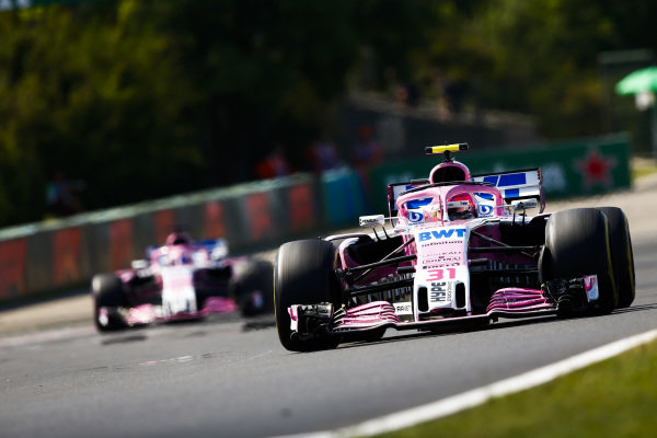 Esteban Ocon, Force India VJM11 Mercedes, leads Sergio Perez, Force India VJM11 Mercedes.