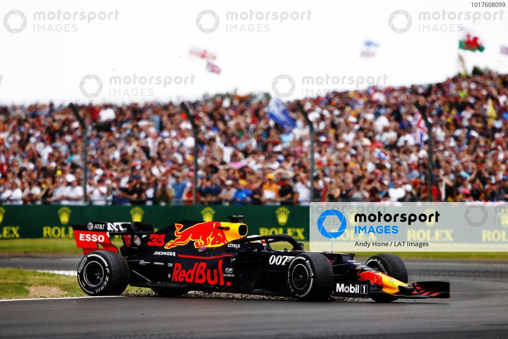 Max Verstappen, Red Bull Racing RB15, spins after a crash with Sebastian Vettel, Ferrari SF90