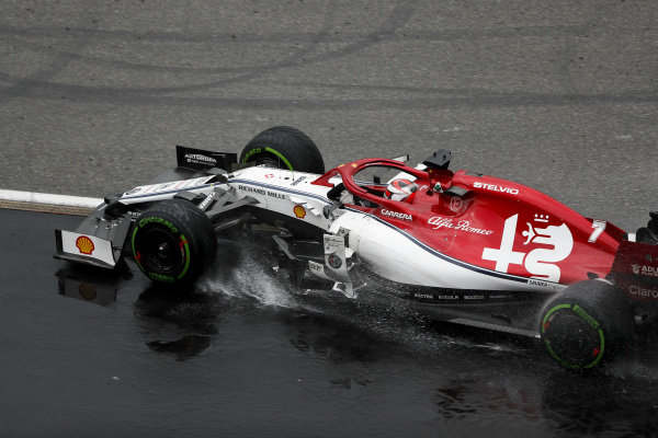 Kimi Raikkonen, Alfa Romeo Racing C38, rejoins after a trip into the gravel