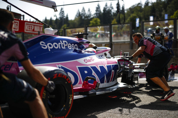 Sergio Perez, Racing Point RP19, is wheeled into his pit garage
