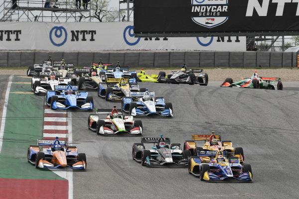 Alexander Rossi, Andretti Autosport Honda, Colton Herta, Harding Steinbrenner Racing Honda, Ryan Hunter-Reay, Andretti Autosport Honda, Scott Dixon, Chip Ganassi Racing Honda, start