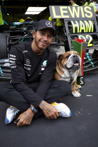 Lewis Hamilton, Mercedes F1 W11 EQ Performance, celebrates his record-breaking 92nd Formula 1 victory with his pet dog
