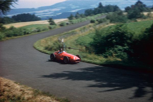 Nurburgring, Germany. 2-4 August 1957. Juan Manuel Fangio, Maserati 250F, 1st position. Ref: 57GER17. World Copyright - LAT Photographic