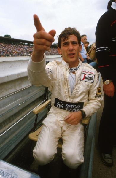 Ayrton Senna (BRA) asks for directions German Grand Prix, Hockenheim, 5 September 1984.