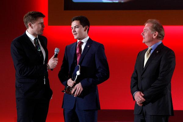 2015 British Racing Drivers Club Awards Grand Connaught Rooms, London Monday 7th December 2015 Jolyon and Jonathan Palmer on stage. World Copyright: Jakob Ebrey/LAT Photographic ref: Digital Image PalmerW-07