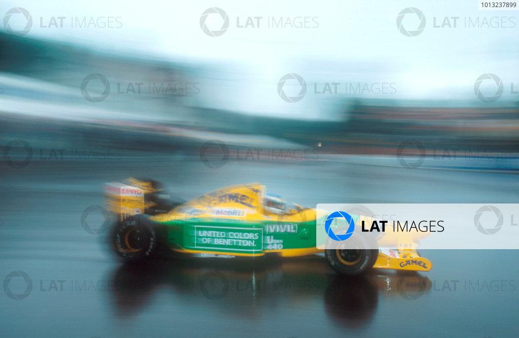 Spa-Francochamps, Belgium.28-30 August 1992.Michael Schumacher (Benetton B192 Ford) 1st position for his maiden Grand Prix win.Ref-92 BEL 02.World Copyright - LAT Photographic